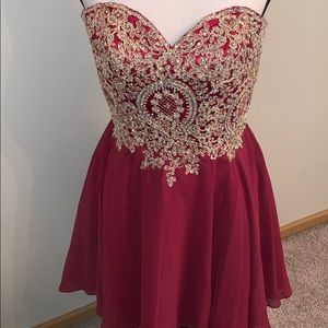 Hand Sewn Embellished Fit/Flare Corset Back Dress